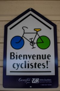 The warm welcome on the little bike shed at my hotel in Mont Laurier