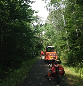 The excellent trail crew clearing the fallen trees